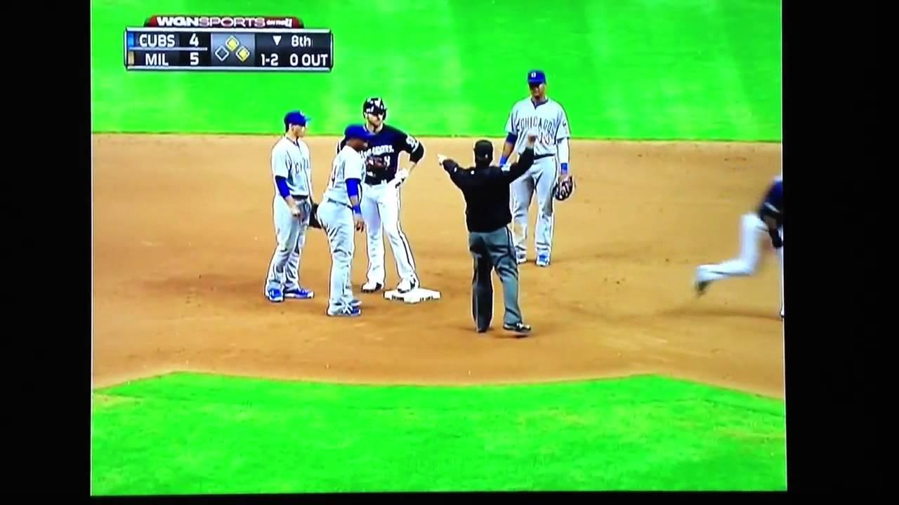 Bizarre Baseball Play Cubs/Brewers - YouTube