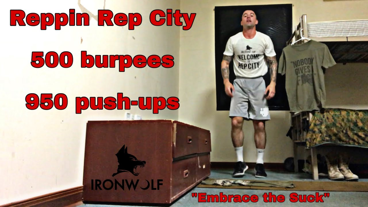 """Day 10 of 31 """" Embrace the suck"""" (500 burpees, 950 push-ups )"""