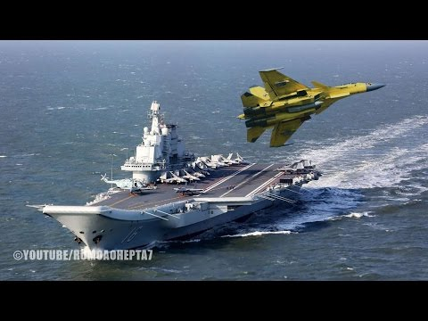 Chinese Aircraft Carrier Liaoning and J-15 Flying Shark Naval Fighter -  Porta-Aviões Chines