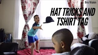 dude perfect fans doing Hat Trick shots and Tshirt Tag (5 years old) EPIC!!