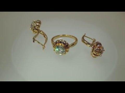 Комплект кольцо серьги модель s042