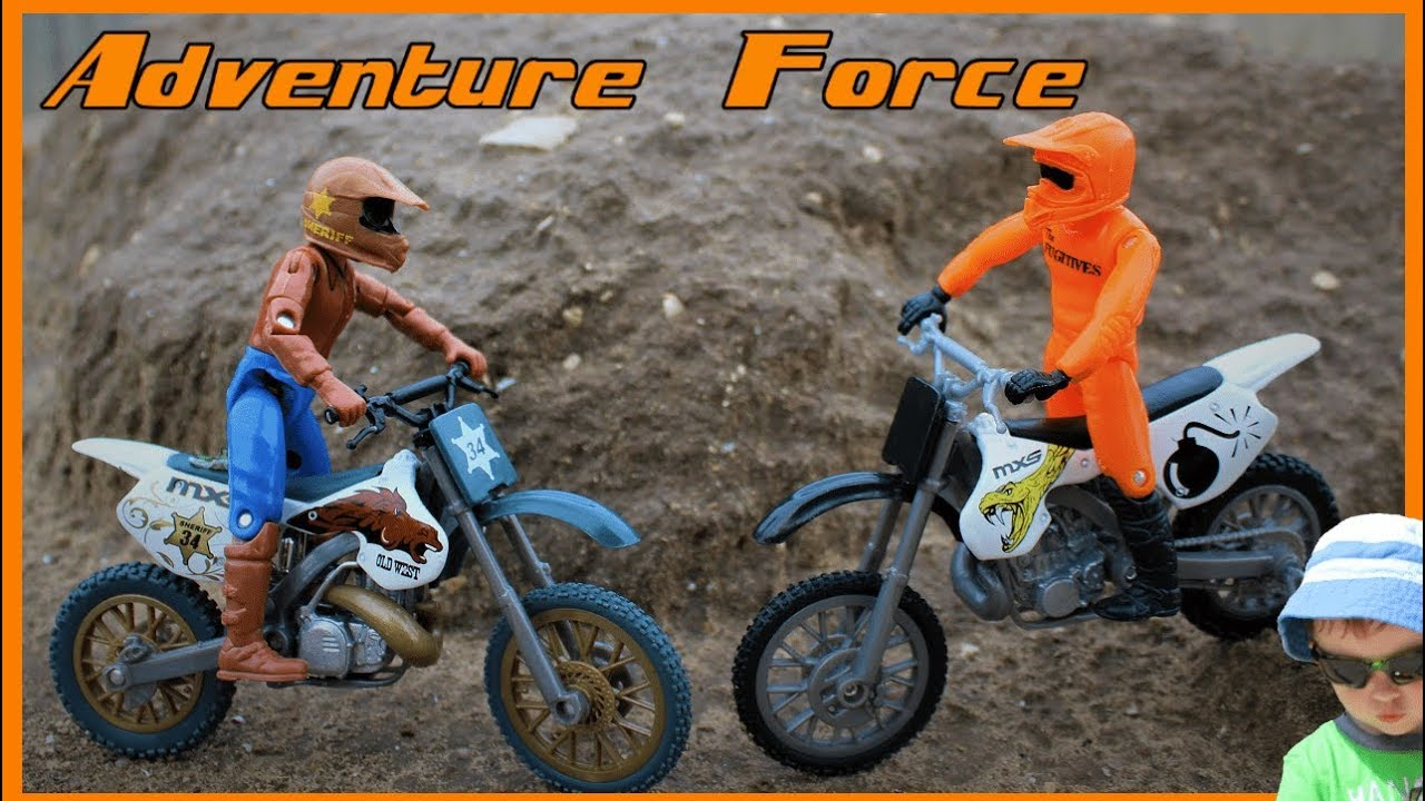 Pretend Play Unboxing Adventure Force Dirt Bikes Kids Videos Outdoor Imagination Motocross Toys