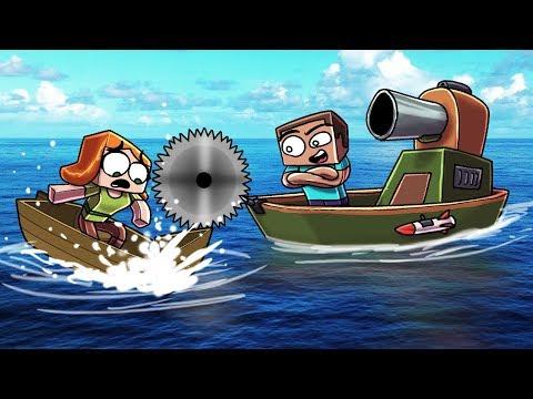 Minecraft | MOST SECURE BOAT FORT CHALLENGE! (Raft Wars Battle)