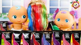 Peppa Pig e i BEBÈ BELLIES fanno la SFIDA dei CAPELLI DI 3 COLORI | 3 Hair Color Challenge! VOTATE!