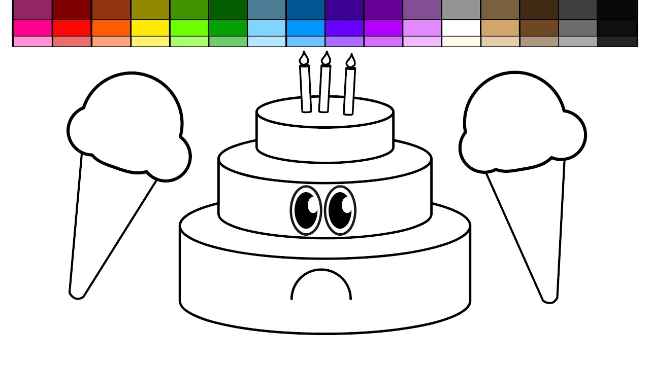 learn colors for kids and color sad layered birthday cake and ice