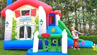 Funny stories about Alice and huge inflatable playhouse for kids