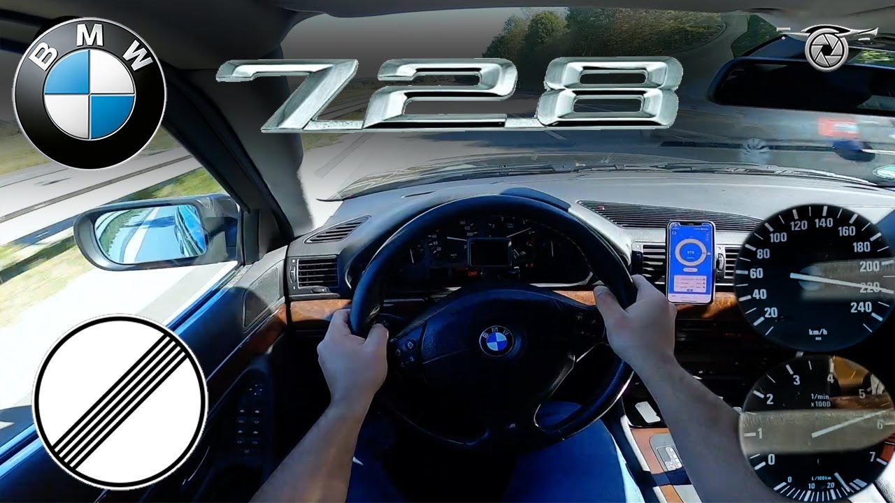 BMW E38 728i 193HP | TOP SPEED ON GERMAN AUTOBAHN | 226km/h | ACCELERATION 100-200 km/h