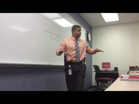 Detective Juan Peña speaks to Criminal Justice 101 Students at Strayer University