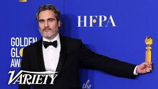 Joaquin Phoenix Mocks Reporters' Questions Backstage at the Golden Globes