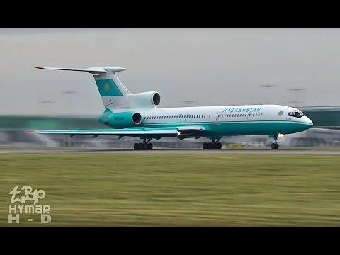 Tupolev TU154 (Tu-154) Kazakhstan LOUD takeoff! P4-MES, N767A B767, Martinair MD11 planespotting