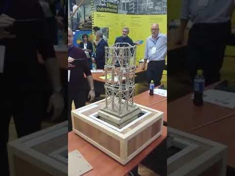 Earthquake proof building model on shake table