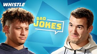 Football Players Tell BAD Jokes! | ft. Patrick Mahomes & Mitch Trubisky Video