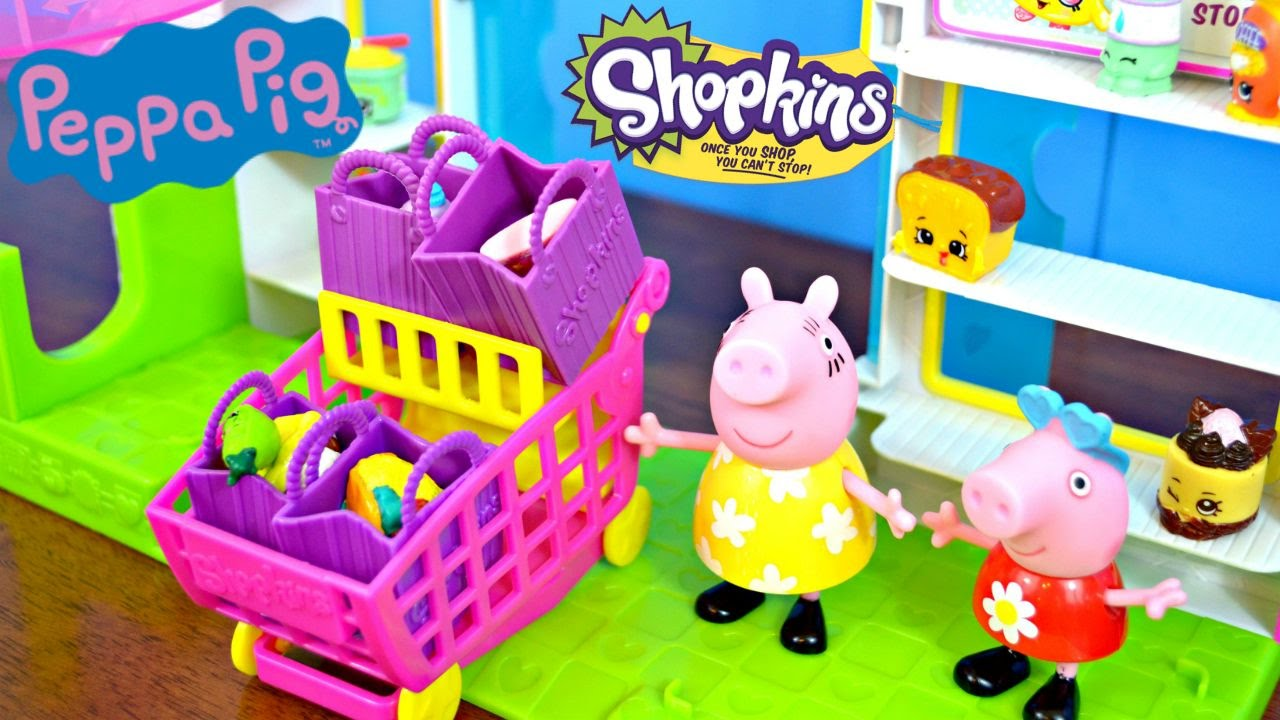 peppa pig shopping with shopkins at shopkins small mart. Black Bedroom Furniture Sets. Home Design Ideas