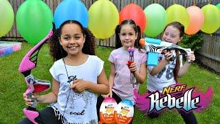 Nerf War Toy Challenge - Kinder Surprise Eggs - Charm U - Blind Bags - Bunch O Balloons Battle