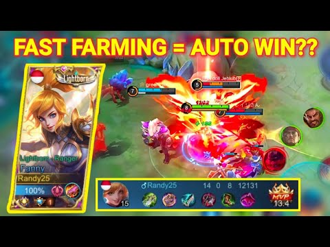 THIS IS HOW TO FARM FAST WITH FANNY!! (RANDY25 FANNY ROTATION)   Mobile Legends
