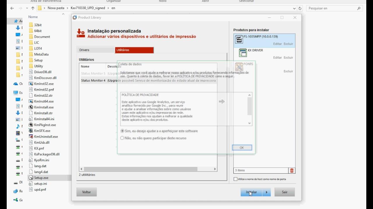 Como instalar um driver Kyocera pelo KX 7 1
