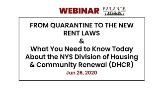 FROM QUARANTINE TO THE NEW RENT LAWS -  Webinar