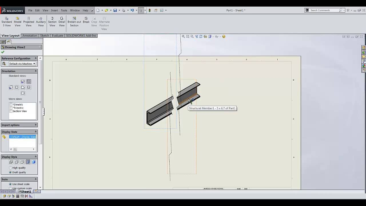 How to align Angular Break Views in SOLIDWORKS