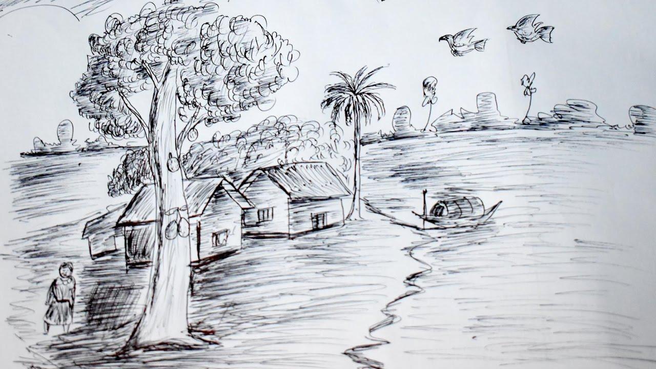 ball pen sketch drawing for little kids কলম দ য আ ক