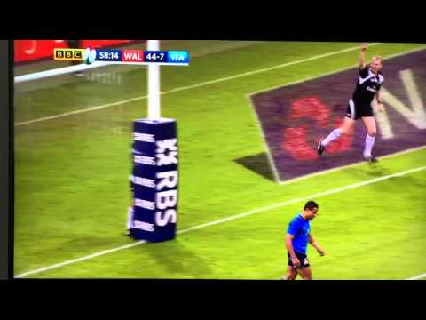 Wales v Italy 2016 assistant referee runs into post