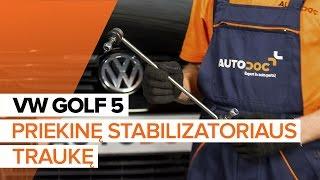 Montavimo gale ir priekyje Pasukimo trauklė VW GOLF: vaizdo pamokomis