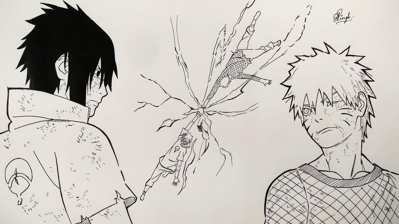 Drawing naruto vs sasuke manga sketch naruto shippuden