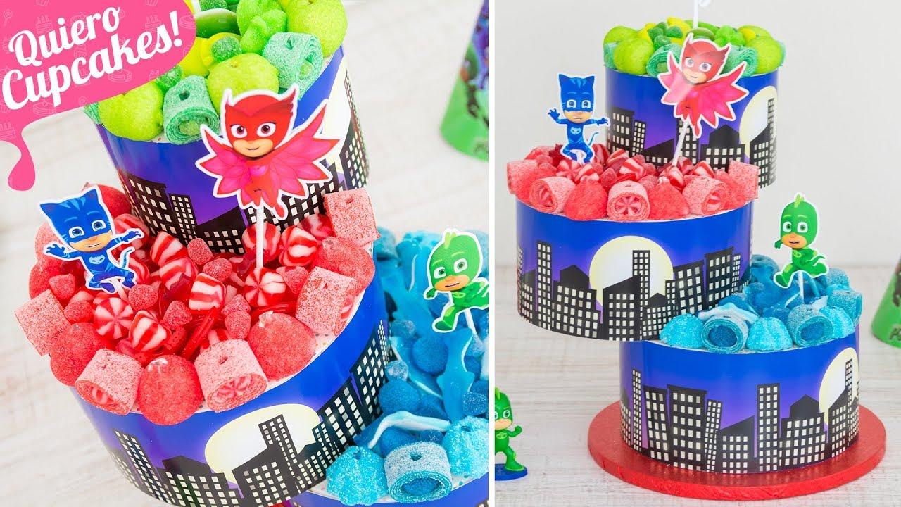 Tarta de chuches f cil para fiestas pj masks quiero cupcakes youtube - Ideas para decorar mesas de chuches ...