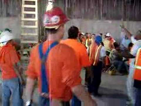 How NOT to hand out t-shirts at a jobsite.