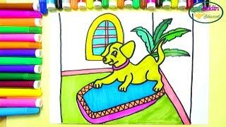 Aladdin channel vẽ và tô màu con chó vẽ tranh đồ chơi cute dog coloring & drawing for kids