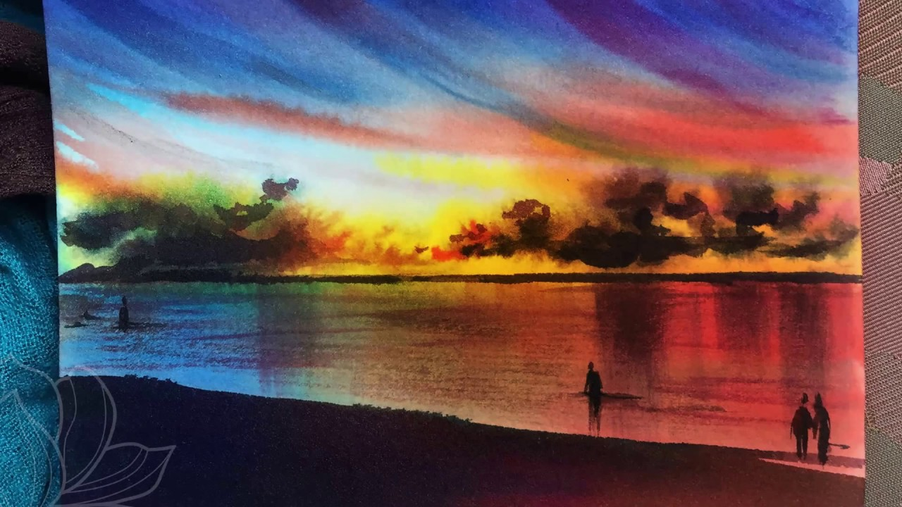 How to use watercolor to draw sunset at the beach