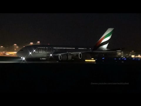 Loud night landing from Emirates A380 A6-EER at Hamburg Fink