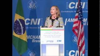 Hillary Clinton talk about relations between Brazil and U.S. at CNI