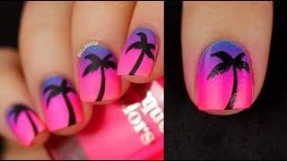 Neon Sunset Gradient Palm Tree Summer Nail Art DIY || KELLI MARISSA