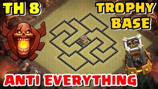 New 'BEST' Town Hall 8 (TH8) TROPHY Base Design | With Bomb Tower [TH8 Defense] Clash of Clans 2017