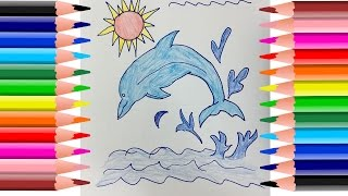 How to coloring pictures for kids | Dolphin painting and drawing pages