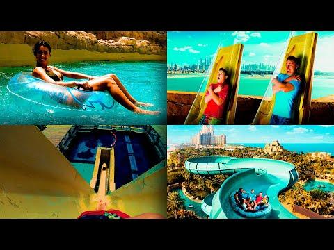 Лучший Аквапарк Атлантис в Дубае   Обзор Aquaventure water park Atlantis Palm Dubai Water Slides POV
