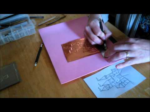 Metal Embossing by Hand: Castle Image in Aluminum for Sign or Card Making for beginners
