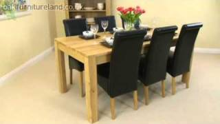 Oakdale Solid Oak 6ft X 3ft Dining Set With 6 Black Scroll Back Leather Chairs