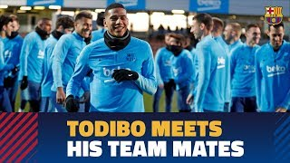 Todibo's first training session with FC Barcelona
