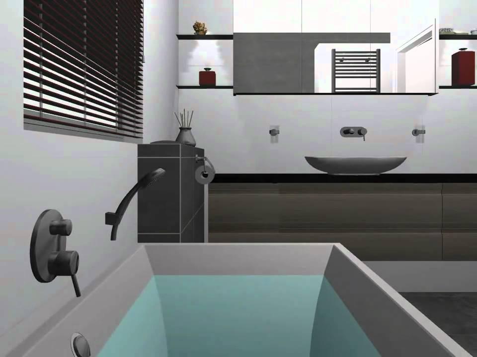 Badkamer-idee met inloopdouche en opzetwastafel - YouTube