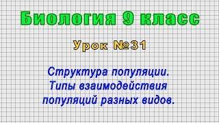 Биология 9 класс (Урок№31 - Структура популяции. Типы взаимодействия популяций разных видов.)