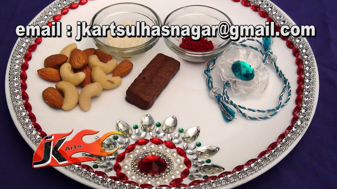Diy rakhi puja thali for raksha bandhan pooja thali for Aarti thali decoration with kundan