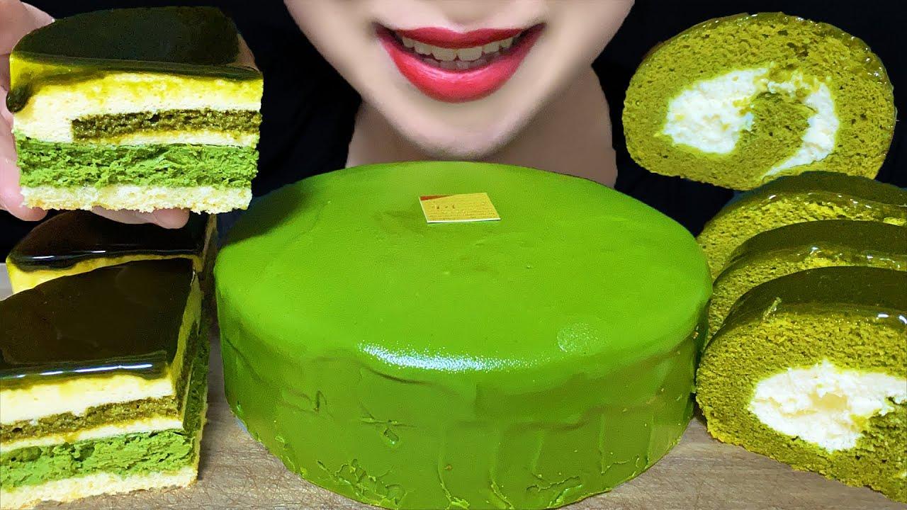 【咀嚼音/ASMR】濃厚抹茶ケーキで抹茶パーティ モッパン ケーキホール食い スイーツ 大食い MACHA PARTY Green Tea Crepe Cake Mukbang 녹차 케이크 먹방