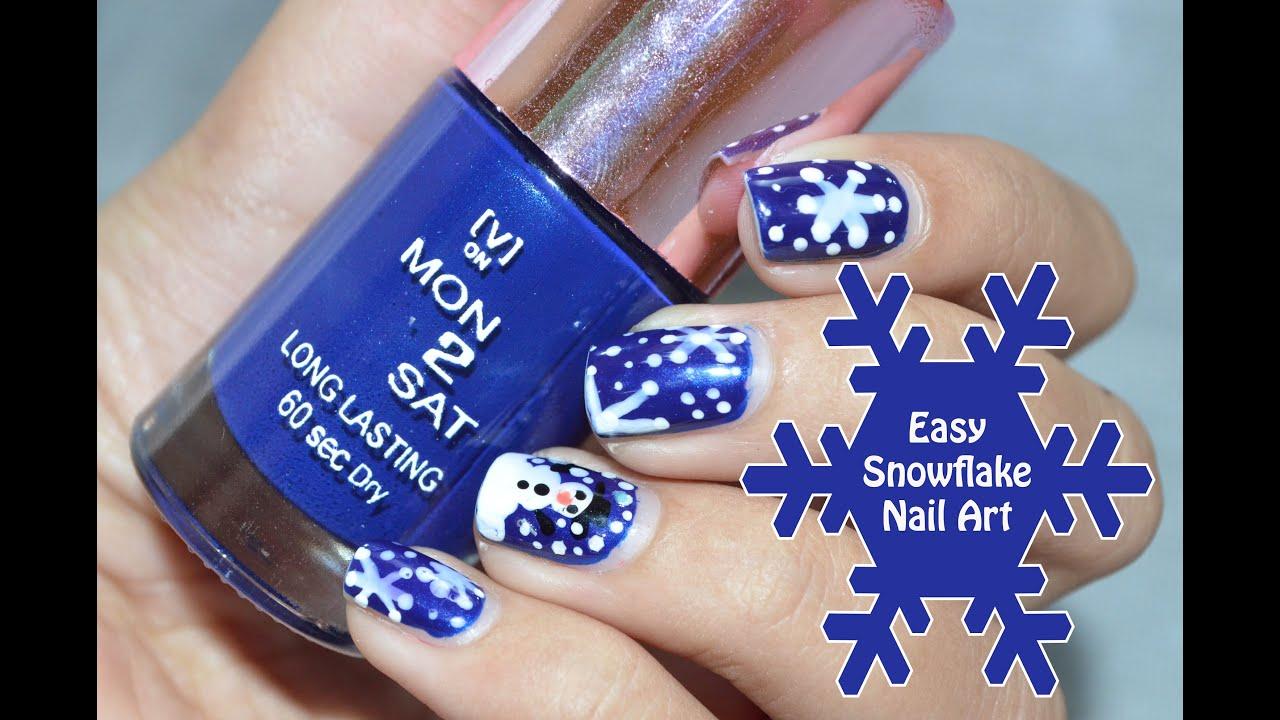 easy snowflake nail art thenailz4fun youtube