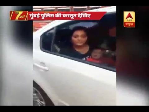 Mumbai Police tows car with woman and a child