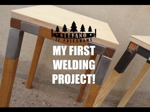 MY FIRST WELDING PROJECT! Iron and wood workshop stool