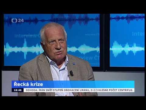 Václav Klaus, bývalý prezident ČR v Interview ČT24, 14. 7. 2015