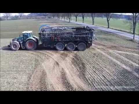 Slurry drive 2015 the air with Fendt 939 Vario 5 axes and John Deere  7290 R truck