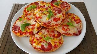 5 Dakikada Pizza-Bazlamadan Çok Kolay Ve  Lezzetli Pizza Tarifi-Hamurişleri-Gurbetinmutfagi