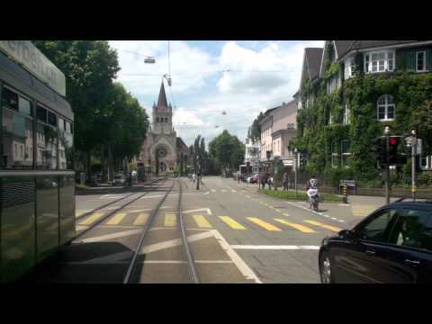 Drämmli Basel Tram drivers view 1 time lapse tour バーゼルのトラム (前面展望)
